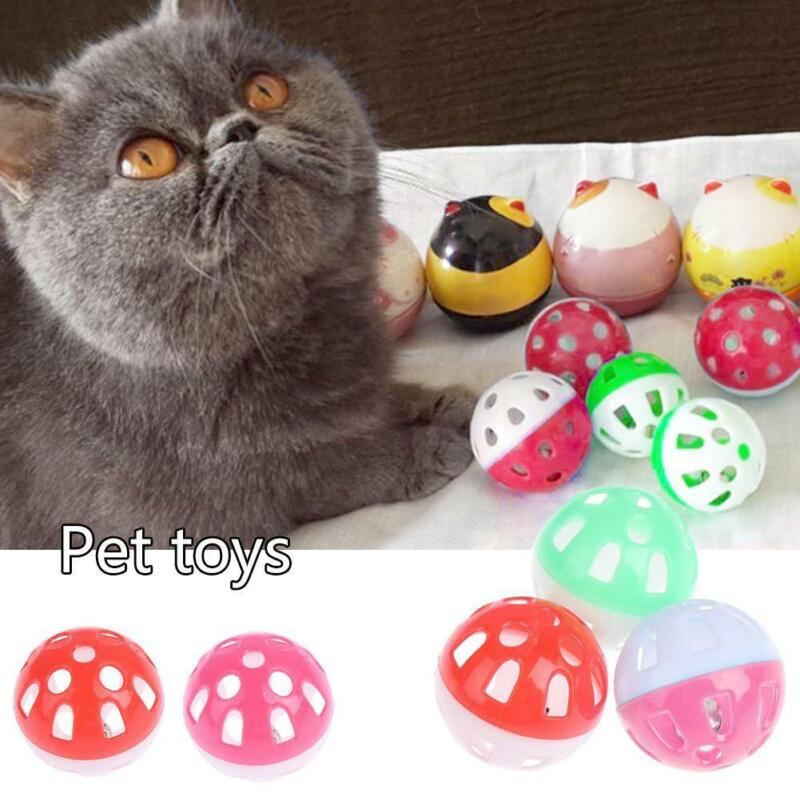 Multicolor Hollow Bell Ball Plastic Ball Cat Dog Toy D4E2 Bell Toy Sound F1Q6 - $6.33