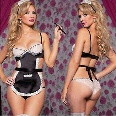 Sexy Women Lingerie Lace Cute Costume French Maid Lingerie Outfit Dress Cosplay