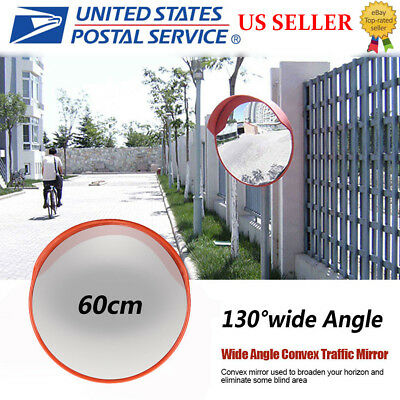 Traffic Mirror Wide Angle Convex 45cm Wide Angle Driveway Road Safety Mirror Convex 130 /° Angle Traffic Mirror with Necesssary Rainproof Hat Mounting Hardware Accessories for Outdoor Road