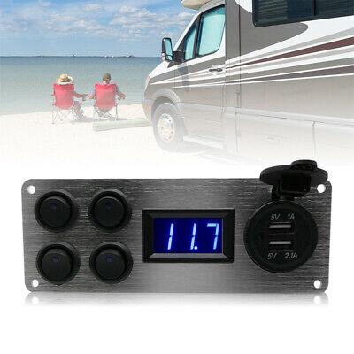 UK 12V-24V Campervan RV Camper Switch Panel For Lights Voltmeter Dual USB