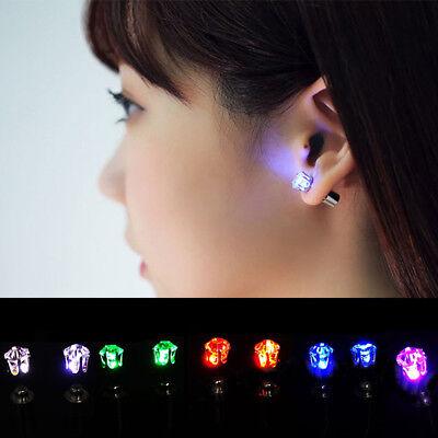 Unisex LED Glowing Bling Light Up LED Ear Studs Earrings Dance Party Xmas - Light Up Earrings