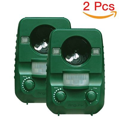 Cat Repellent, AngLink 2-Pack Ultrasonic Animal Repeller Solar Battery Operated