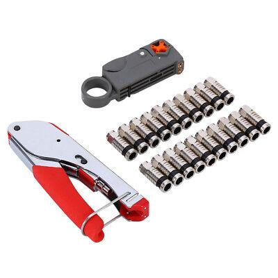 Coaxial Compression Connector Stripper Crimper Tool Set For RG6 RG59 Coax Cable