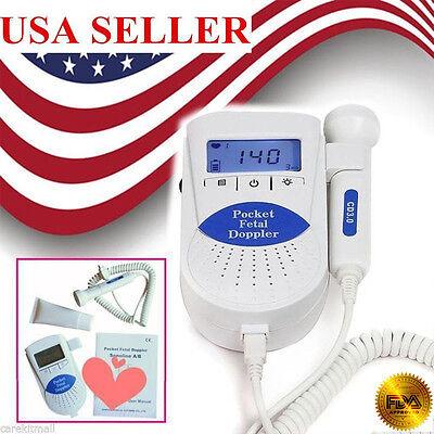 Fda Pocket Fetal Doppler Baby Heart Beat Prenatal Heart Rate Monitorgel Us Ship