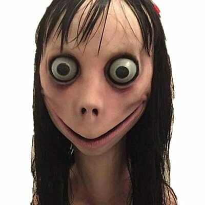 Scary Momo Mask Hacking Game Horror Latex Mask Full Head Momo Mask Big Eye