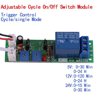 Dc 51224v Adjustable Cycle Trigger Delay Timing Timer Relay Onoff Switch Oe