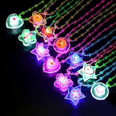 12 Crystal Light Up Necklaces LED Sparkle Plastic Necklace and Shining Pendants - Light Up Necklace