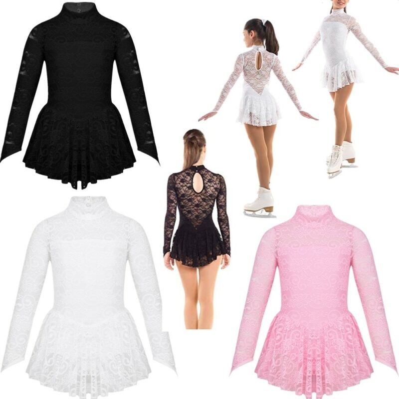 Women Ballet Lace Dance Dress Leotard Outfit Costume Gymnastic Dancewear Skating