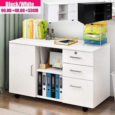 3-drawer Rolling Filing Cabinet File Storage Organizer Table Whiteblack 90x40cm