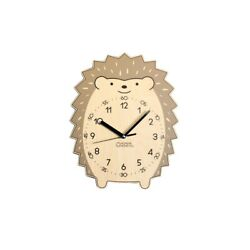 Character Baby Hedgehog Children's Learn The Time Wooden Wall Clock Non-Ticking