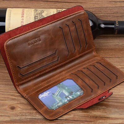 Mens Leather Wallet Long Credit Card Holder Bifold Purse Clutch Pocket NEW