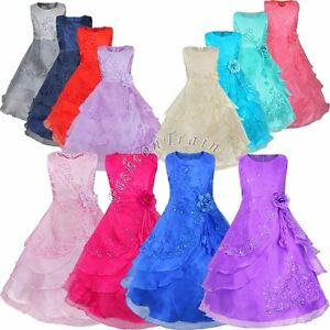 Kids birthday pageant wedding princess party formal gown prom flower