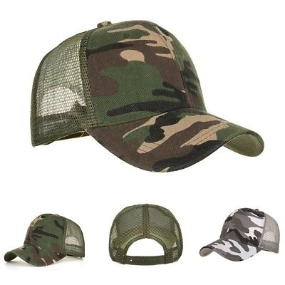 Men Women Baseball Cap Mesh Trucker Hunting Military Army Camo Snapback Hat Cool