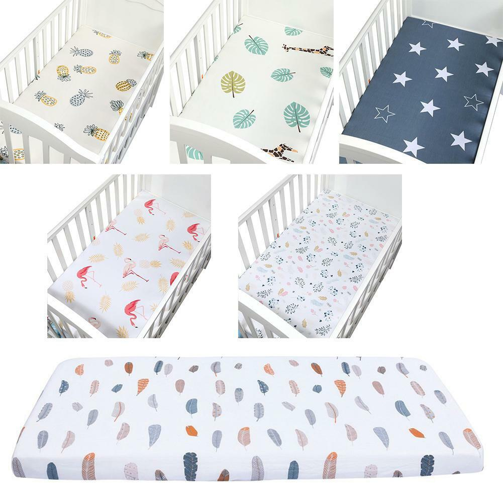 Soft Breathable Cotton Crib Fitted Sheet Baby Bed Mattress C