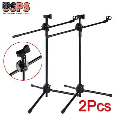 - 2 Pack Dual Microphone Stand Boom Arm Holder & Mic Clip Stage Studio Tripod