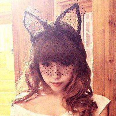 Mode Kostüm Prty Spitze Kaninchen Häschen Mädchen Lang Ohren Schleier