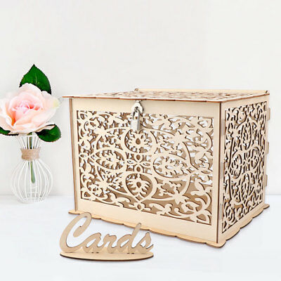 DIY Wooden Wedding Card Box with Lock Gifts Card Post Box Collection Party Favor - Wedding Favors Diy