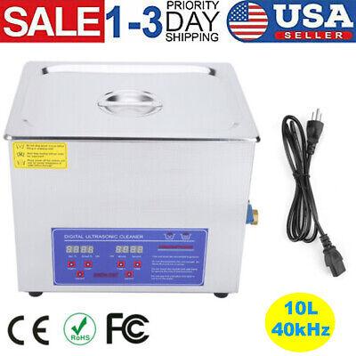 10l Liter Stainless Steel Ultrasonic Cleaner Heated Machine Heater Wtimer 40khz