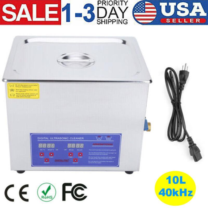 10L Liter Stainless Steel Ultrasonic Cleaner Heated Machine Heater w/Timer 40kHz