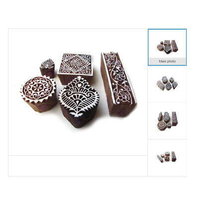 Handmade Wooden Printing Stamp DIY Assorted Henna Fabric Textile Printing Blocks - Diy Wooden Blocks