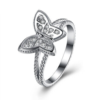Sterling Silver Plated Fashion Ring AAA Zirconia Women Butterfly B416 ()