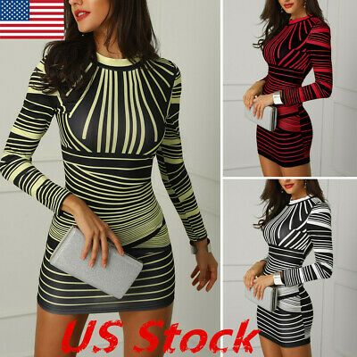 Fashion Cocktail Dresses - Fashion Womens Long Sleeve Print Bodycon Clubwear Cocktail Party Sexy Mini Dress