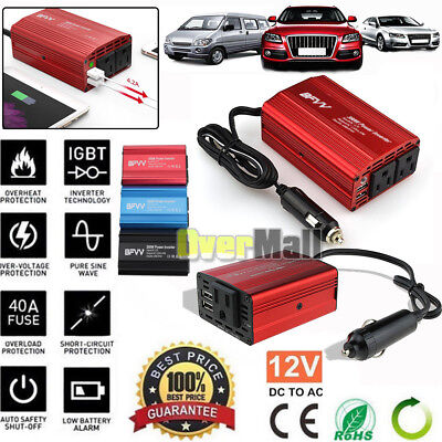 200W 350W 12V DC to 110V AC Car Power Inverter 2 USB Outlets Auto Truck Adapter Auto Car Power Inverter Adapter