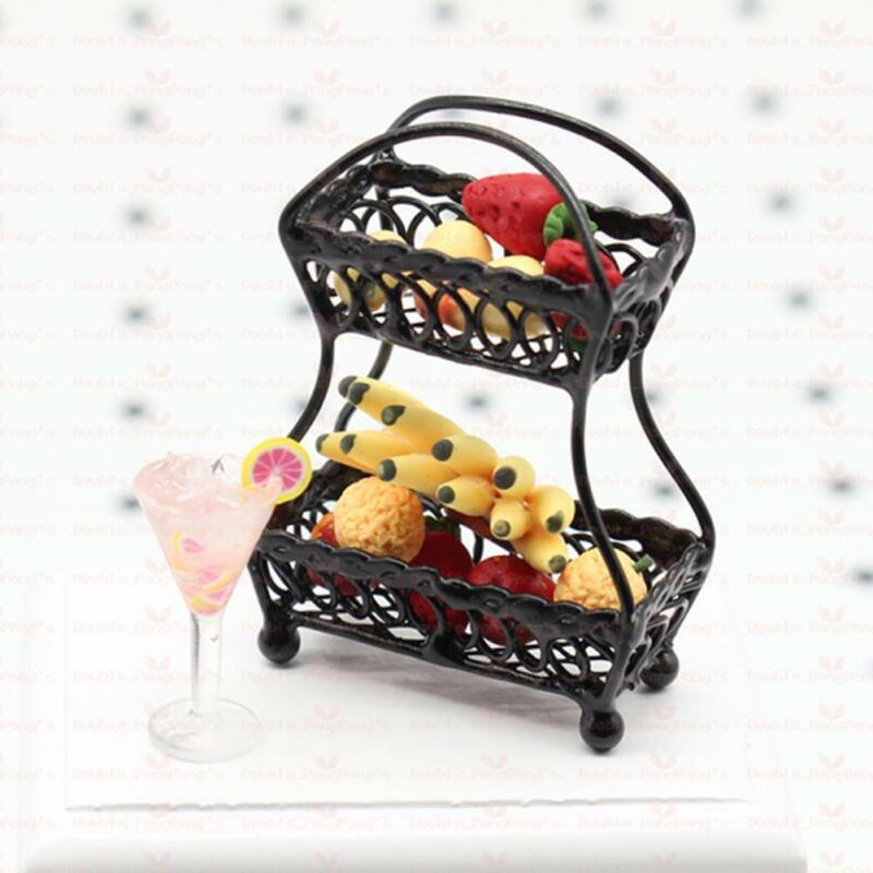 "Black Metal Fruit Basket Dollhouse Miniature Furniture 1//12/"" Accessories Sc F9O1"