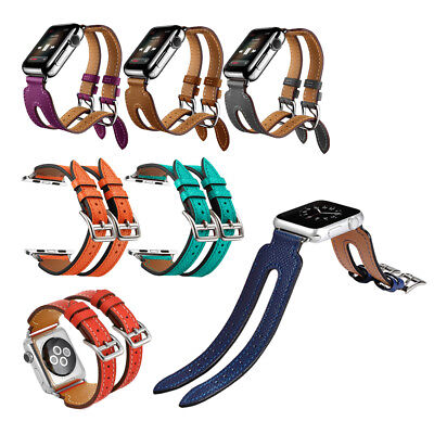 - Summer Fashion Top Leather Double Buckle Cuff Band For Apple Watch Strap 38 42mm