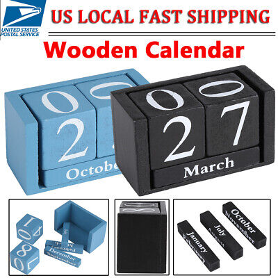 Vintage Wood Calendar Block Month Date Display Cube Desk Table Home Office Decor - Office Cube Decoration