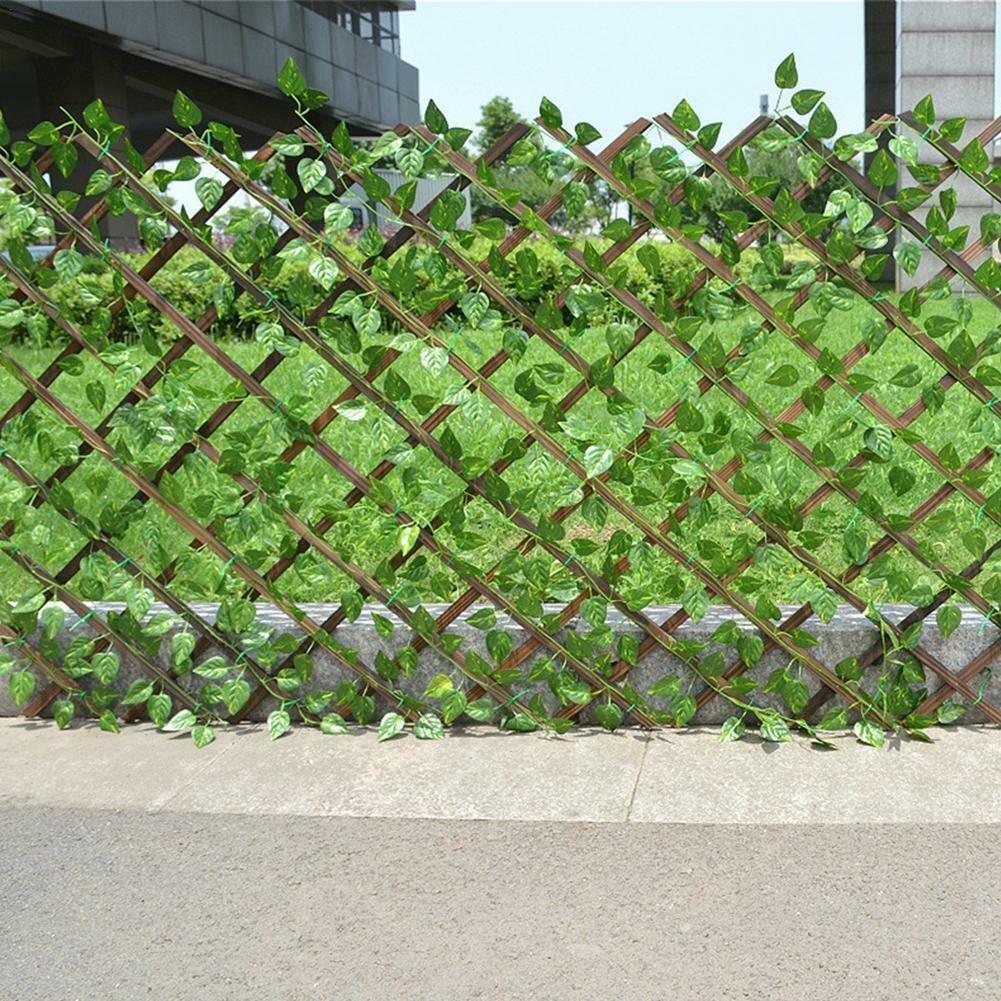 garden fence - Expanding Trellis Artificial Plant Garden Wall Leaf Wood Fence UV Protected