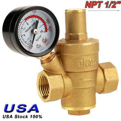 Npt 12 Brass Water Pressure Regulator Valve Pn1.6 With Dual Scale Gauge Set