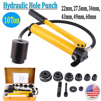 10t Manual Hydraulic Round Hole Punch Opener Kit Tool With 6 Dies 22 To 60mm