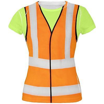 Halloween Road Worker Construction Vest Costume All Over Juniors T Shirt - Road Worker Halloween Costumes