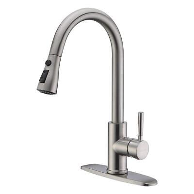 "Single Handle Kitchen Sink Faucet Pull Out Spray Brushed Nickel With 10"" Cover"