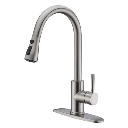 """Single Handle Kitchen Sink Faucet Pull Out Spray Brushed Nickel With 10"""" Cover"""