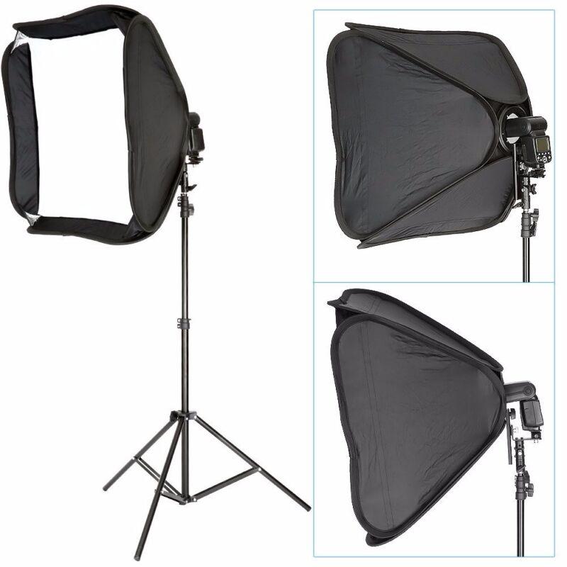 Portable Off-Camera Flash Softbox & Stand Kit for Canon Nikon Speedlite