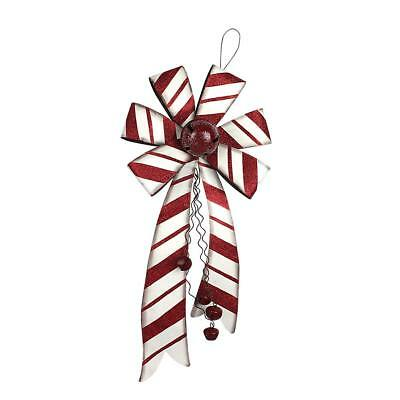 Metal Striped Candy Bow Holiday Decor Christmas Hanging Wall Decorations with