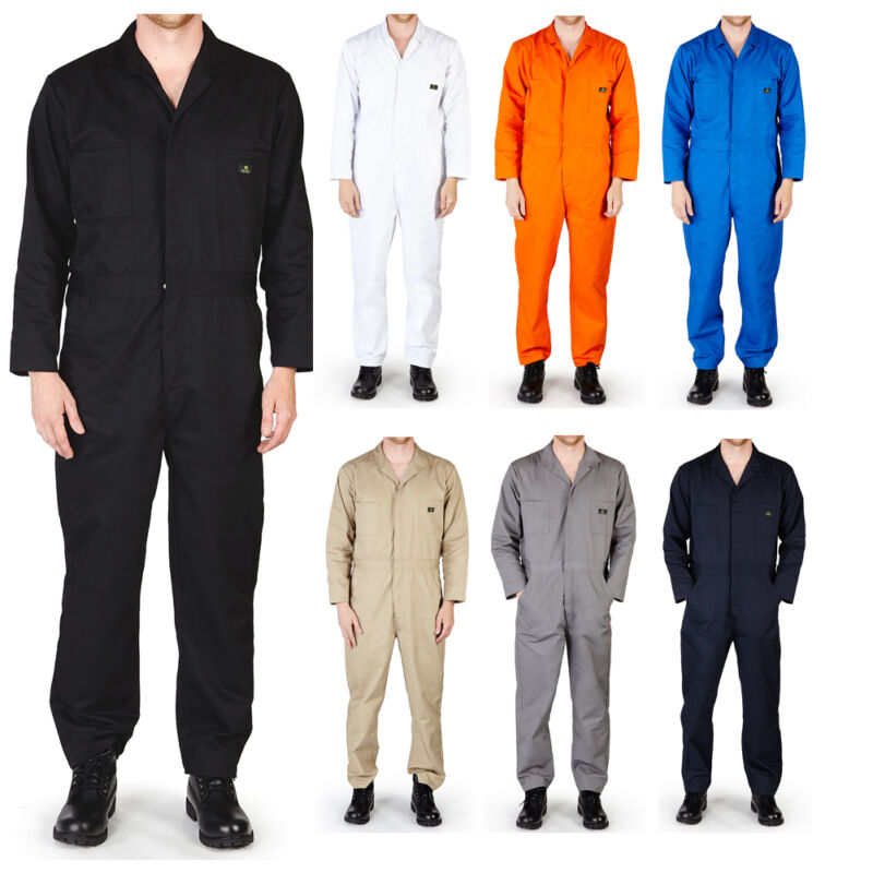 Mens Premium Long Sleeve Coverall Overall Boilersuit Mechanic Protective Work
