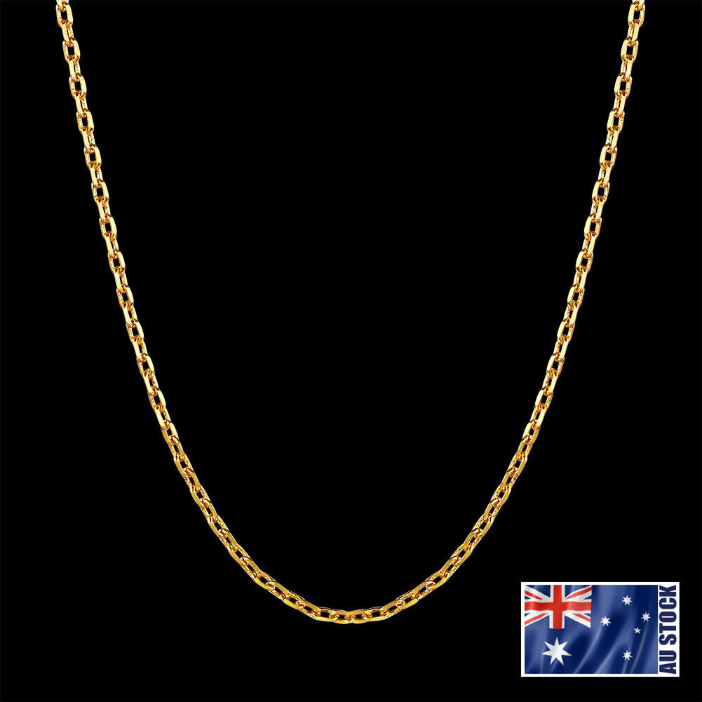 Jewellery - 18K Yellow Gold GP 1.5mm Link Necklace Anchor Chain For Pendant WHOLESALE PRICE