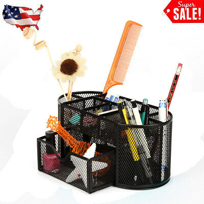 Desk Organizer Metal Black Mesh Storage Pen Pencil Eraser Holder Container Tray