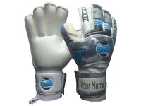zoop pro goalkeeper flat roll finger saver goalie gloves size 8/9/10/11,
