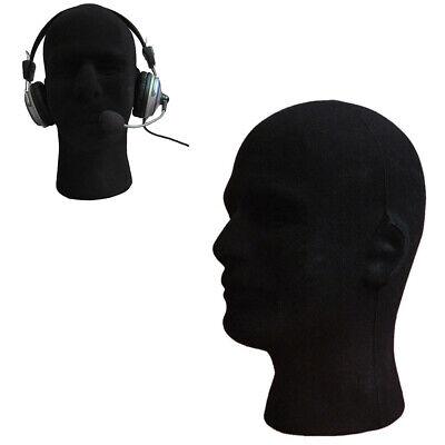 Male Foam Flocking Head Model Glasses Headset Wig Display Tool Mannequin Black