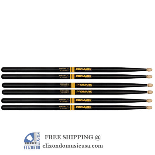 Pro-Mark R5AAG Activegrip 5A Drum Sticks Black 3 Pairs UPC 616022131570