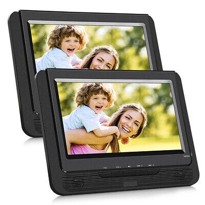 2X 9 Zoll Auto LCD Tragbarer DVD Spieler USB Kopfstütze Monitor Bildschirm AKKU