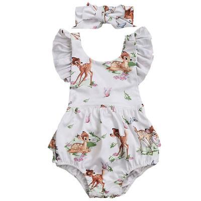 Bambi Kit - NEW Disney Bambi Baby Girls White Ruffle Romper Bodysuit & Headband Outfit Set