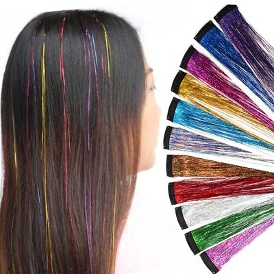 Clip Extensions Lametta Glatt Glitzer Haarverlängerung Haar Hair Fashion Look