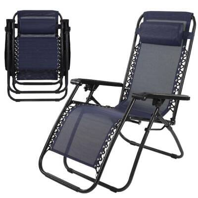 Adjustable Reclining Outdoor Chair Lounger Seat Garden Patio Folding Camping
