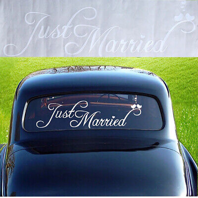 EB_ Just Married Wedding Car Vehicle Rear Window Banner Sticker Decal Decor Cool Decorating Just Married Car
