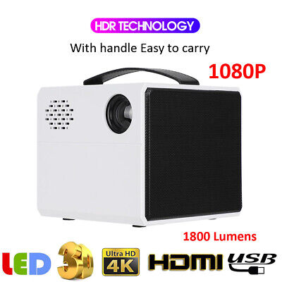 Mini Projector 3D 4K Handle Portable 1080P Full HD LED Home Beamer Movie Player
